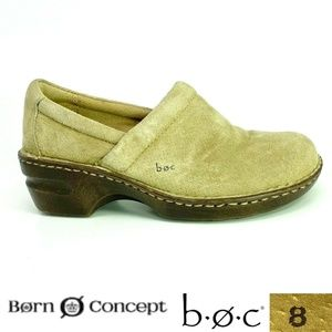 BOC Born Concept Peggy Sz 8 Tan Suede Clogs